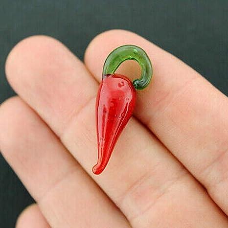 #272 12 Pieces Glass Chili Pepper Pendants