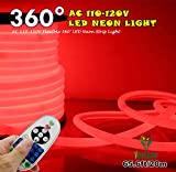 [UPGRADE] 360° LED NEON LIGHT, IEKOV™ AC 110-120V Flexible 360 Degree LED Neon Strip Lights, Dimmable & Waterproof NEON LED Rope Light + Remote Controller for Decoration (65.6ft/20m, Red)