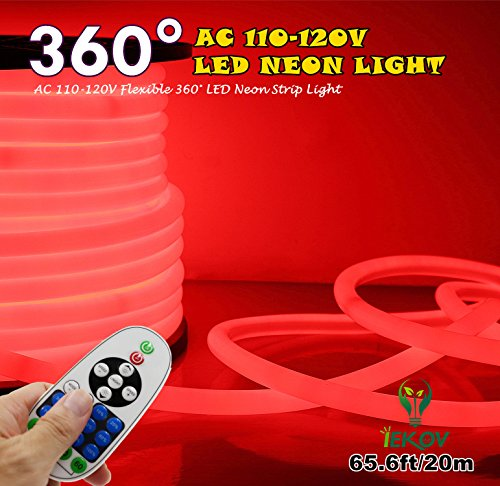 [Upgrade] 360° LED NEON Light, IEKOV™ AC 110-120V Flexible 360 Degree LED Neon Strip Lights, Dimmable & Waterproof NEON LED Rope Light + Remote Controller for Decoration (65.6ft/20m, Red) by IEKOV (Image #8)