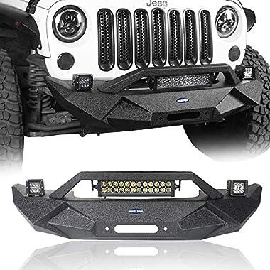 f4cca4e545 Hooke Road Jeep Wrangler BLADE Front Bumper w/Winch Plate & 72W Light Bar &