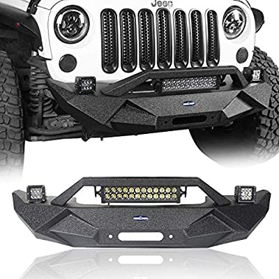 Amazon Com Hooke Road Wrangler Blade Front Bumper W Winch Plate 72w Light Bar 18w Fog Lights For Jeep Wrangler Jk Jku 2007 2018 Automotive