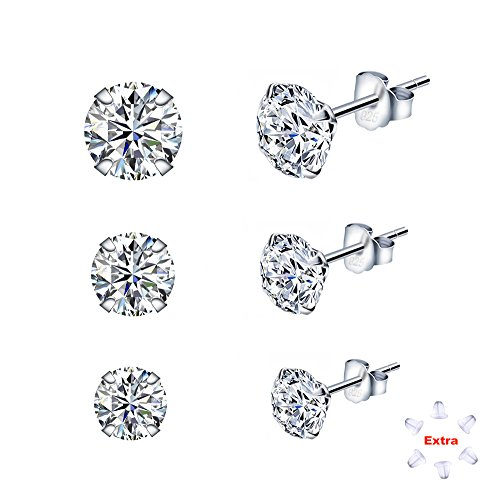 Sterling Silver Studs Earrings Round Cut Cubic Zirconia NOT STAINLESS STEEL 4mm 5mm 6mm Sizes Platinum-Plated Stud 3 Sets for Women & Men's Ear (Platinum Round Cut Three Prong)