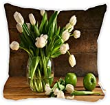 """Rikki Knight White Tulips in Glass Vase Rustic Wood Green Apples Design 18"""" Square Microfiber Throw Decorative Pillow with Double Sided Print (Insert Included)"""