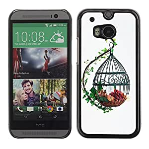 "For HTC One ( M8 ) , S-type Diseñar la jaula de pájaros linda"" - Arte & diseño plástico duro Fundas Cover Cubre Hard Case Cover"