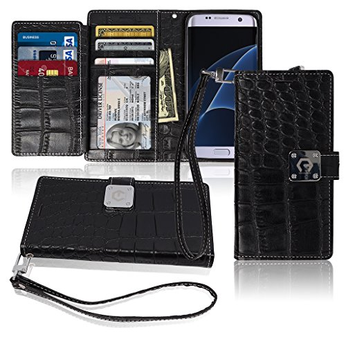 S7 Edge Wallet Case, Matt [ 8 Pockets ] 7 ID / Credit Card 1 Cash Slot, Power Magnetic Clip With Wrist Strap For Samsung Galaxy S 7 Edge Leather Cover Flip Diary (Black)