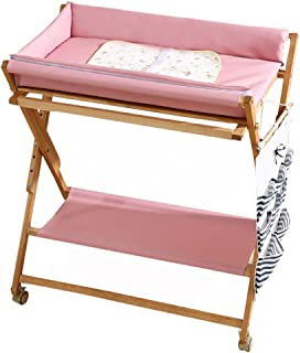 Baby Care Diaper Desk Solid Wood Folding Bath Station With Universal Wheel Home Touch Massage Treatment Nursery Furniture Storage Station