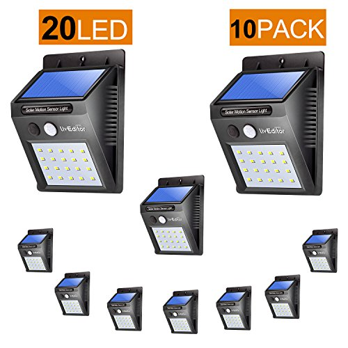 Outdoor Solar Lights,LivEditor 20 LED Solar Motion Sensor Light -10 Pack by Liveditor Lighting