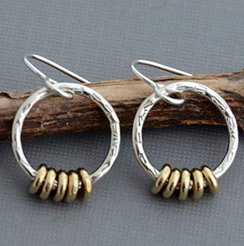 - Small sterling dangle hoop earrings two tone mixed metal