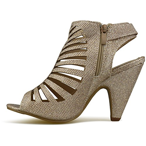 High Premier Sandal Shoe Vegan Sexy Cutout Wood Women's Standard Heel Leather Toe Champagne Open Strappy Stacked 6rXUrqvw