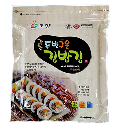 (50 Full Size Sheets (3.5oz) Korean Roasted Seaweed Premium Yaki Sushi Nori Gimbap Roll, Vacuum Packed)