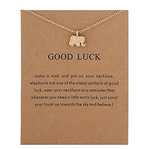 AL001 Gold Good Luck Elephant Necklace ()