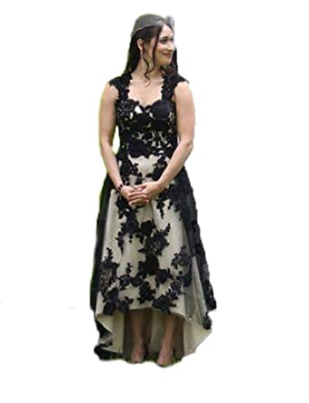 Baijinbai Formal High Low Appliques Long Wedding Ball Gown Party Prom Dresses Bridesmaid Evening Dress Black