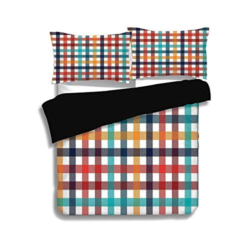 SINOVAL Black Duvet Cover Set King Size,Checkered,Colorful Fresh Summertime Pattern Design Gingham Plaid Striped Traditional Picnic Decorative,Multicolor,Fashion 3 Pcs Bedding Set by 2 Pillow Shams