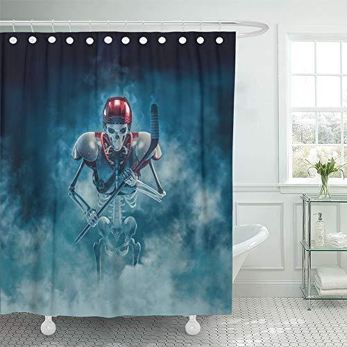Emvency Decorative Shower Curtain The Phantom Hockey Player 3D of Scary Skeleton Ice Stick Helmet and Shoulder 66