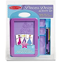 Melissa & Doug Princess Design Activity Kit - 9 Double-Sided Plates, 4 Colored Pencils, Rubbing Crayon
