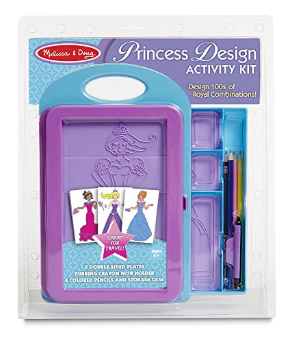 Princess Activity Kit (Melissa & Doug Princess Design Activity Kit - 9 Double-Sided Plates, 4 Colored Pencils, Rubbing Crayon)