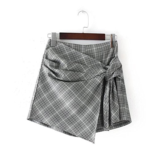 Nice Engineeringed Casual Shorts Cotton Women High Waisted Loose Plaid Wide Leg Hot Short Pants