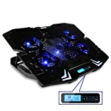 """Laptop Cooling Pad, MECO 12-15.6"""" Laptop Cooler Cooler Master Cooling fan with Dual USB Port 5 Quite Fans with Strong Wind at 2500RPM Six Mode Adjustable laptop stand and LCD Screen for Computer Notebook MacBook"""