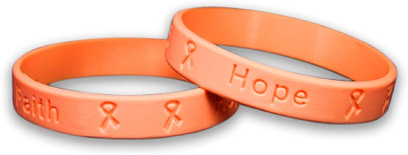 Fundraising For A Cause   Peach Uterine Cancer Awareness Bracelets – Peach Ribbon Cancer Awareness Silicone Bracelets for Adults