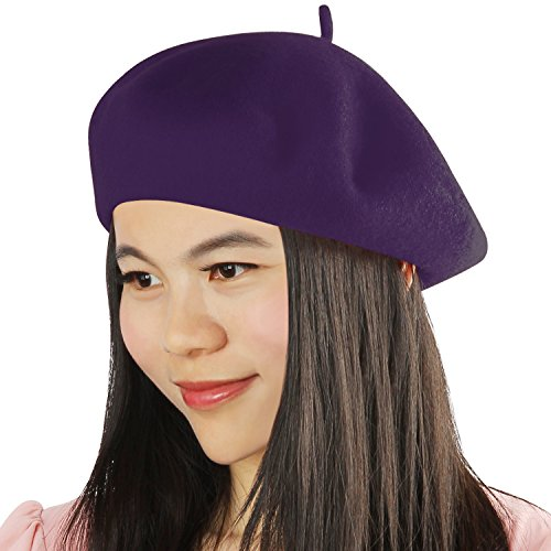 Purple Hat Small French - Acecharming Womens French Style Beret Wool Beanie Hat Cap(Thin, Purple)
