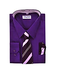 Purple Boys Fashion Solid Dress Shirt Tie and Hanky Set
