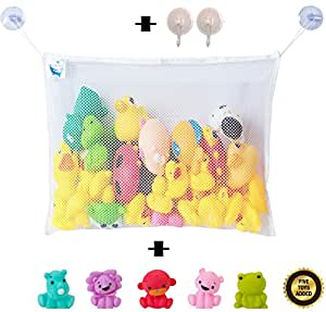 "Bath Toy Organizer Comes with 5 Bath Toys and 2 Extra Strong Suction Cups for Baby Boys & Baby Girls. Bath Toy Net Holder, a Perfect Gift for a Baby Shower. Large White Net 18"" by 14"" ."