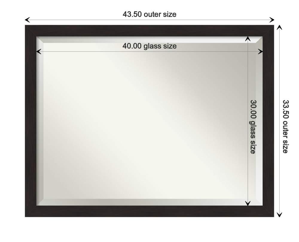 Amanti Art Framed Vanity Mirror | Bathroom Mirrors for Wall | Furniture Espresso Narrow Mirror | Wall Mounted Mirror | X-Large Mirror | 33.50 x 43.50 by Amanti Art