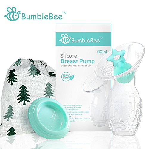 Bumblebee breast pump manual breast pump breastfeeding freemie collection cups pump stopper lid pouch in gift box bpa free & 100% food grade silicone similar haakaa breast pump ()