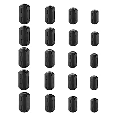 FIOTOK 20Pcs Clip-on Ferrite Ring Core Black RFI EMI Noise Suppressor Cable Clip for 5mm/7mm/9mm/13mm Diameter Cable