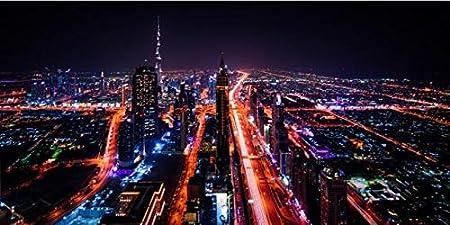 Dubai city night view sala de estar decoración cuadros modernos pinturas murales e impresiones pop art lienzo impresiones dormitorio sin marco pinturas decorativas Z31 70x100cm