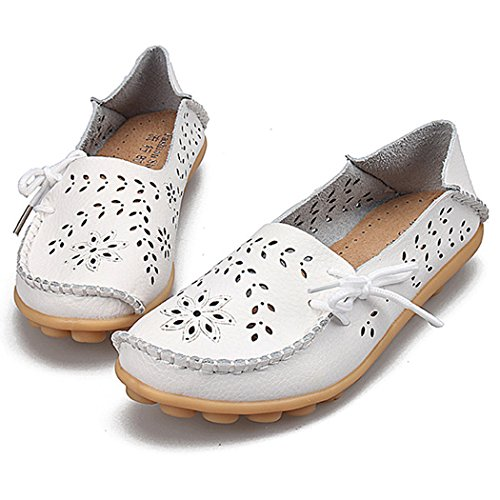 Fengda Womens Hollow Leather Breathable Hole Shoes Casual Flat bottom Driving Shoes Boat Loafers White w5Q3j