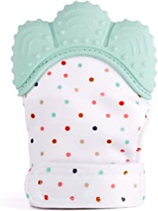 veizn Baby Teething Mittens, 2 Pieces Soft Silicone Mitten Teether Baby Teething Glove Infant Newborn Teether BPA Free Safe Food Grade Teething Mitts for 3–18 Months Infants (Light Green)
