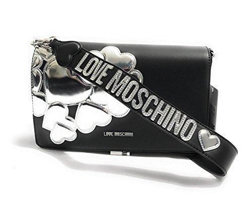 Borsa A Tracolla Love Moschino Con Cuore In Metallo Argento Nero