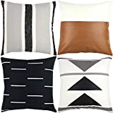 Woven Nook Decorative Throw Pillow Covers ONLY for Couch, Sofa, or Bed Set of 4 18 x 18 inch Modern Quality Design 100% Cotton Black White Geometric Faux Leather Zulu Set