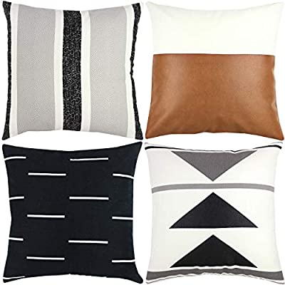 Woven Nook Decorative Throw Pillow Covers 4 Pack for Couch, Sofa, or Bed 100% Cotton Black White Geometric Faux Leather Zulu Set (18'' x 18'') - Make sure this fits                by entering your model number. 100% Cotton PILLOW COVERS - Insert not included. ONLY pillow covers are included. Any 18'' insert should work for Woven Nook Pillows - living-room-soft-furnishings, living-room, decorative-pillows - 51i45ZzK68L. SS400  -