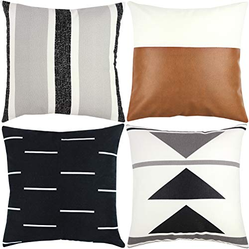 Woven Nook Decorative Throw Pillow Covers ONLY for Couch, Sofa, or Bed Set of 4 18x18 20x20 and 22x22 inch Modern Design 100% Cotton Black White Geometric Faux Leather Zulu -