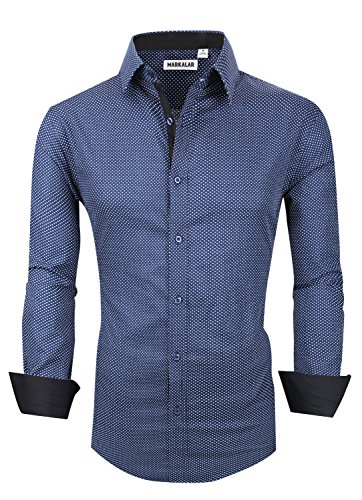 Mens Button Down Shirts Regular Fit Long Sleeve Cotton Casual Dots Dress Shirts,DotBlue,XL