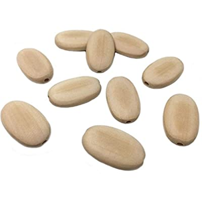 Wendysun 100Pcs Wood Bead-Oval Llat Natural Unfinished Wood Beads 22mmx34mm Wood Jewelry Accessories Beads Supplies: Arts, Crafts & Sewing