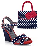 Ruby Shoo Women's Navy Spot Evie Sandals & Matching Tortola Bag UK 9 EU 42