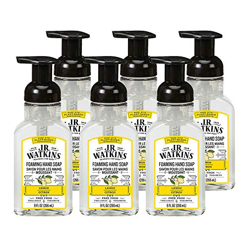 J.R. Watkins Foaming Hand Soap, Lemon, 6 Pack, Scented Foam Handsoap for Bathroom or  Kitchen, USA Made and Cruelty Free, 9 fl oz