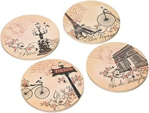 """CoasterStone AS3100 Absorbent Coasters, 4-1/4-Inch, """"Tour de France"""", Set of 4"""