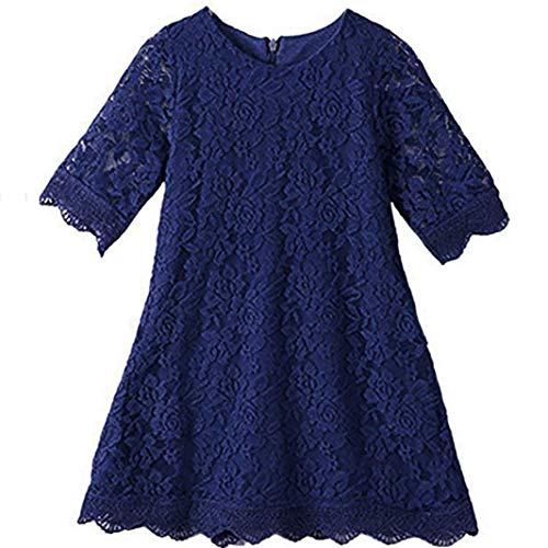 Homecoming Dresses for Teens Long High Low 7-16 Long Sleeve Gowns for Birthday Wedding Holiday Party 10-12 Years Old Navy Flower Lace Pageant Dress for Size 14 Elegant Princess (Navy 190)]()