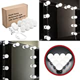 Hollywood Style LED Vanity Mirror Lights Kit 10 Bright Bulbs with Dimmer, White Light for Makeup Table Set, Mirror Not Included