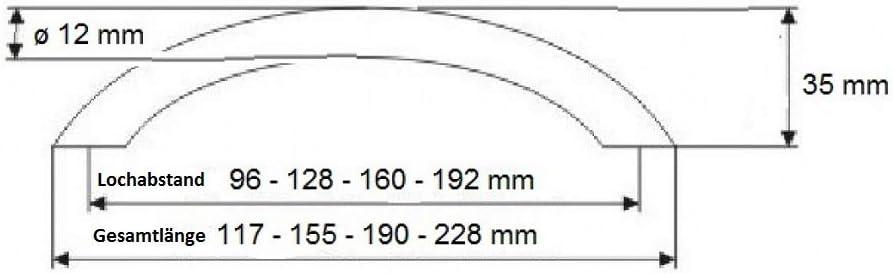 /ø 12 mm Technik Team M/öbelgriff Schrankgriff 96 mm massiv Edelstahl matt geb/ürstet Diverse Lochabst/ände