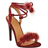 Fashion Thirsty Womens Faux Fur Fluffy Pom Pom High Heel Sandals Lace Up Barely There Size 5