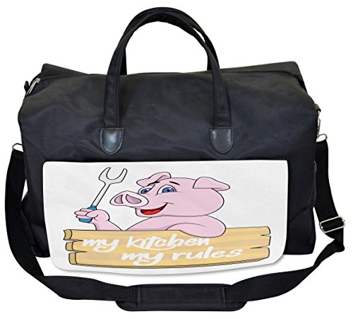 Lunarable Pig Gym Bag, Pig Chef BBQ Barbecue Grill, Large Weekender Carry-on