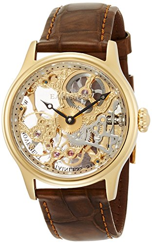 EarnShaw Men's Bauer 42mm Brown Leather Band Gold Plated Case Mechanical Transparent Dial Watch 8049-02 ()