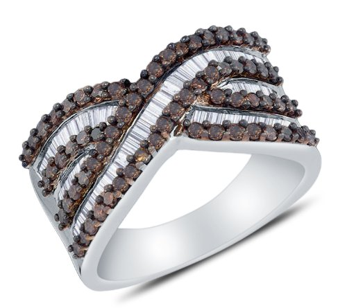 Size 9 - 925 Sterling Silver Invisible & Channel Set Round and Baguette Cut Chocolate Brown and White Diamond Ladies Womens Wedding Band OR Anniversary Ring (1.23 cttw.) by Sonia Jewels