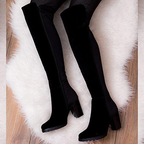 Style Et Bottes Md Carr Talon Pour Noir Dames Daim Spylovebuy® R1wxTSS