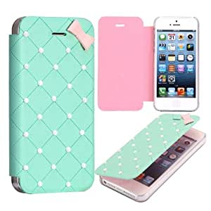 Dolaso Sweet Style Bow Pearls Flip Leather Case Compatible with iPhone 5 Blue